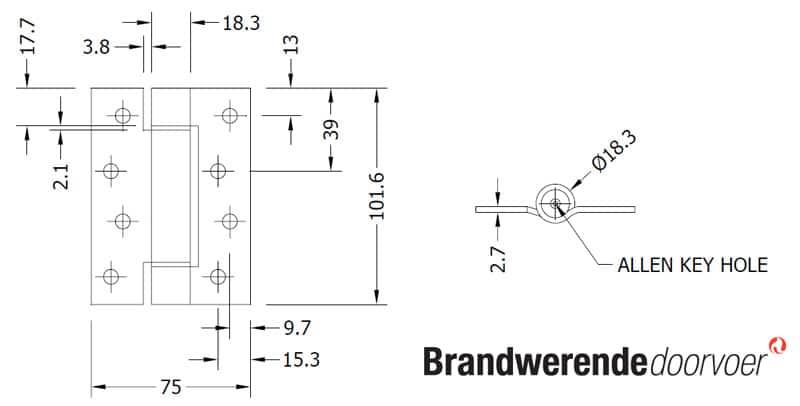 Super Zelfsluitend veerscharnier - Brandveilig-Nederland.nl ET75