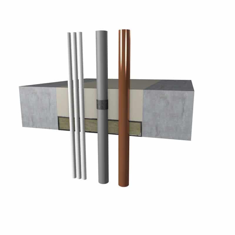 brandwerende mortel in vloer toegepast met leidingdoorvoeren