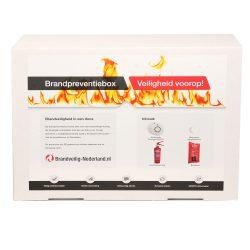 Brandpreventiedoos met rookmelder blusdeken en brandblusser
