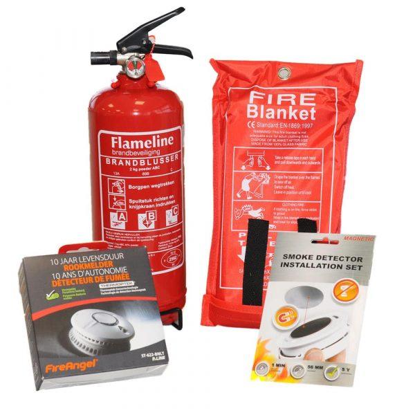 preventie pakket met melder blusdeken en brandblusser