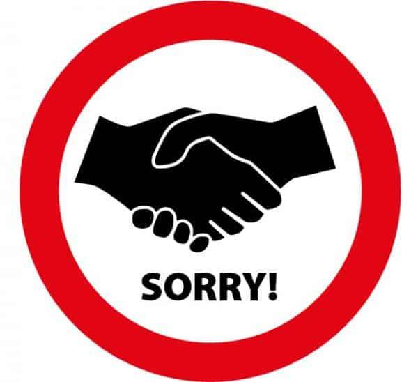 sorry verboden handen te schudden