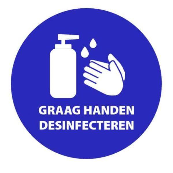 Handen desinfecteren sticker
