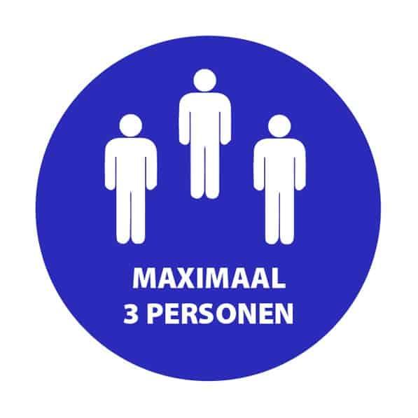 sticker maximaal 3 personen